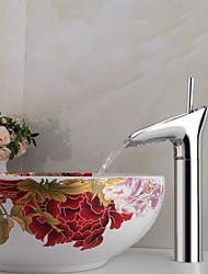 Contemporary Winebowl Style Chrome-plated Brass Cold / Hot Water Faucet - Silver