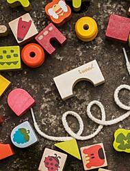 benho blocs de construction de blocs avec une corde jouet en bois