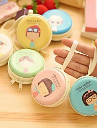 Girl Pattern Tin Round Change Purse(1 PCS Random Color)