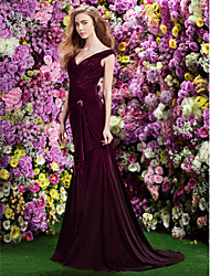 TS Couture Formal Evening Dress - Grape Trumpet/Mermaid Off-the-shoulder Sweep/Brush Train Velvet