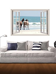 3D Wall Stickers Wall Decals, Sea and Horses Decor Vinyl Wall Stickers