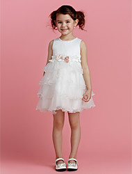 A-line Jewel Short/Mini Polyester Flower Girl Dress