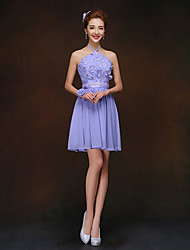 Short/Mini Bridesmaid Dress - Lavender Sheath/Column High Neck