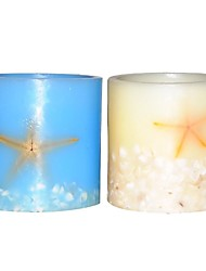 Home Impressions™ 4x4 Inch Seastar Flameless Led Candle with Timer,Battery Operated,Real Seastar And Shell