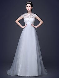 Ball Gown Scoop Court Train Tulle And Lace Wedding Dress