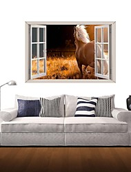 3D Wall Stickers Wall Decals, The White Horse Decor Vinyl Wall Stickers