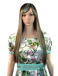 Women Cosplay Long Straight Side Bang Party Wigs Light Brown Green Mixcolor with Free Hair Net