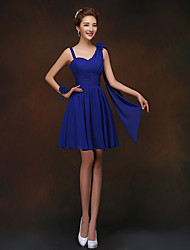 Short / Mini Bridesmaid Dress - Lace-up Sheath / Column Spaghetti Straps with Flower(s)