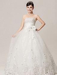 Ball Gown Wedding Dress - White Floor-length Strapless Organza/Velvet