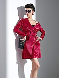 Women's Sexy Trench Coat,Solid Spring / Fall / Winter Red Polyester Thin