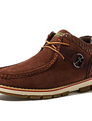 Men's Fall Winter Suede Casual Flat Heel Lace-up Blue Brown Navy Khaki