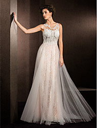 LAN TING BRIDE A-line Wedding Dress See-Through Court Train Jewel Lace Tulle with Appliques Beading