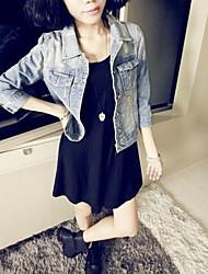 prendas de vestir exteriores de las mujeres ocasionales medio de manga larga regular (denim)