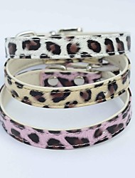 Cat / Dog Collar Adjustable/Retractable White / Pink / Gold PU Leather