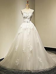 A-line Wedding Dress Chapel Train Scoop/V-neck Tulle