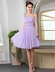 Knee-length Chiffon Bridesmaid Dress - Lavender Off-the-shoulder