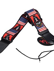 Genuine Leather Ended Adjustable Acoustic Guitar Strap with New American USA Flag Print with Pick Holder