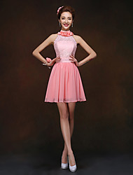 Short/Mini Bridesmaid Dress - Watermelon Sheath/Column High Neck