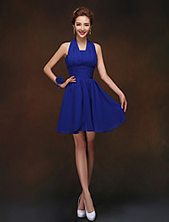 Short/Mini Bridesmaid Dress - Pool Sheath/Column Halter