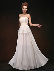 Floor-length Chiffon Bridesmaid Dress - Champagne Sheath/Column Strapless