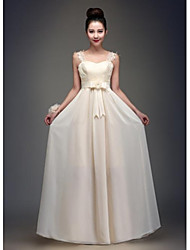 Floor-length Chiffon Bridesmaid Dress - Champagne A-line Square