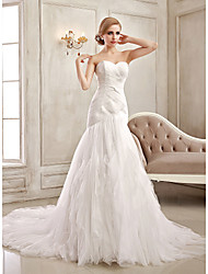 Trumpet/Mermaid Wedding Dress - White/Ivory Court Train Strapless/Sweetheart Satin
