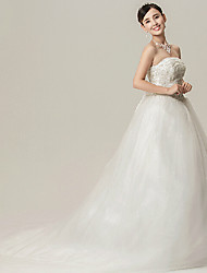Ball Gown Wedding Dress - White Cathedral Train Strapless Organza