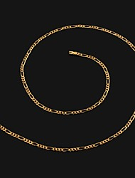 Figaro 45 centímetros homens cadeia dourado chapeado colares cadeia (2mm de largura)