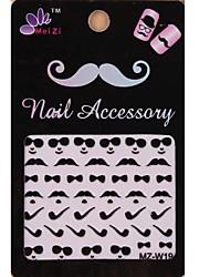 1PCS Cartoon Mustache Style Nail Art Stickers MZ Series MZ-W19