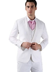 Suits Slim Fit Slim Notch One-Button Fleece/Polyester Solid 3 Pieces White