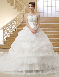 Ball Gown Strapless Cathedral Train Organza Wedding Dress with Bow Pick-Up by JUEXIU Bridal
