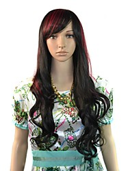 Long Wavy Party Wig Black Red Mixcolor Side Bang