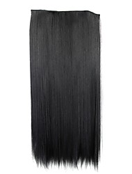 24 Inch 120g Long Black Synthetic Straight Clip In Hair Extensions with 5 Clips