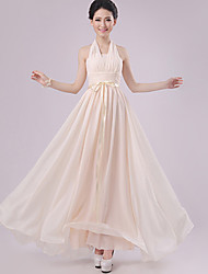 Floor-length Chiffon Bridesmaid Dress - Champagne Sheath/Column Halter