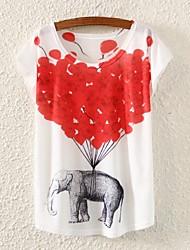 Camiseta (Algodón Mezclado) Impresión - Regular - Delgado de Mangas cortas