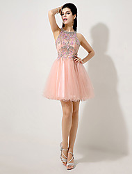Homecoming A-line Jewel Knee-length Evening Dress