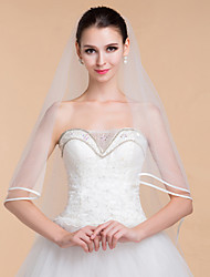 Wedding Veils Women's Elegant Tulle One-tier Ribbon Edge Veils