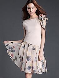 gola redonda moda elegantes vestidos das mulheres