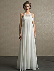 Sheath/Column Floor-length Wedding Dress -Halter Chiffon