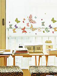 """50 * 23.5cm (20 """"w * 9"""" l) imprimée fleurs papillons - autocollant de la fenêtre"""
