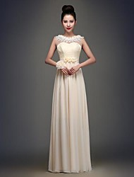 Floor-length Chiffon Bridesmaid Dress - Champagne A-line Scoop