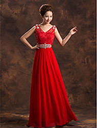 Formal Evening Dress A-line V-neck Floor-length Chiffon with