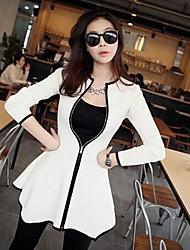 Women's White/Black Coat , Casual Long Sleeve