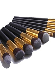 Professional Makeup Brush Set with 10Pcs Black-golden Brushes