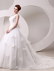 Ball Gown Wedding Dress Sweep/Brush Train/Floor-length One Shoulder
