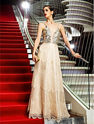 A-Line Spaghetti Straps Floor Length Lace Organza Formal Evening Military Ball Dress with Sequins by TS Couture®
