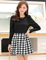 Women's Fashion Check Suit(Blouse & Skirt)(More Colors)