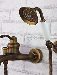 Antique Tub And Shower Handshower Included with  Ceramic Valve Single Handle Three Holes for  Antique Brass , Bathtub Faucet