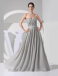 Formal Evening Dress - Gray A-line Sweetheart Floor-length Chiffon