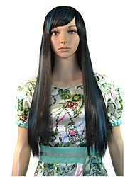 Women Capless Long Straight Party Wig Mixcolor Side Bang with Free Hair Net